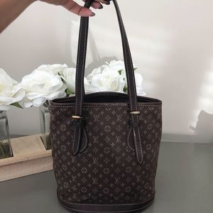Louis Vuitton Petit Bucket mini lin Fusain mono